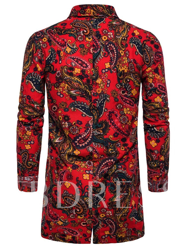 Casual Floral Print Mid-Length Single-Breasted Color Block Spring Men's Shirt