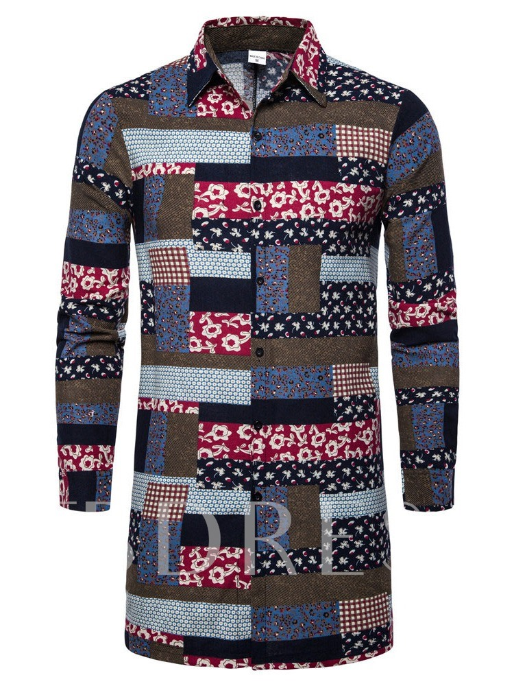 Plaid Print Casual African Fashion Lapel Long Sleeves Single-Breasted Men's Shirt