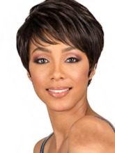 Natural Straight Short Pixie Cut Hairstyles Women's Synthetic Hair Lace Front Cap Wigs 8Inch