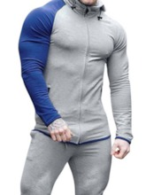 Cotton Blends Zipper Pullover Long Sleeves Color Block Pocket Fall Men's Hoodies
