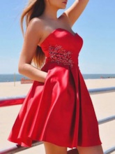 Sweetheart A-Line Pockets Red Homecoming Dress 2019