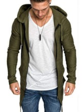 Regular Cotton Blends Cardigan Zipper Plain Slim Men's Hoodies