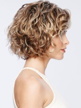 Women's Short Curly Hairstyles Blonde Color Lace Front Cap Wigs 100% Human Hair Wigs 14Inch