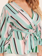 V-Neck Stripe Bowknot Mid-Length Plus Size Women's Blouse