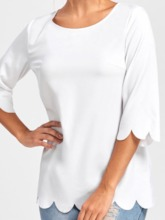 Three-Quarter Sleeve Plain Round Neck Mid-Length Slim Women's T-Shirt
