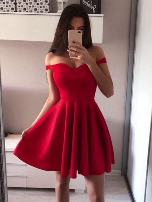 A-Line Off-The-Shoulder Sleeveless Short Homecoming Dress 2019