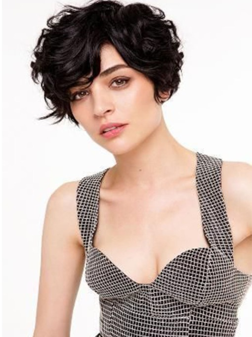Women's Short Hairstyles Curly 100% Human Hair Lace Front Cap Wigs 10Inches