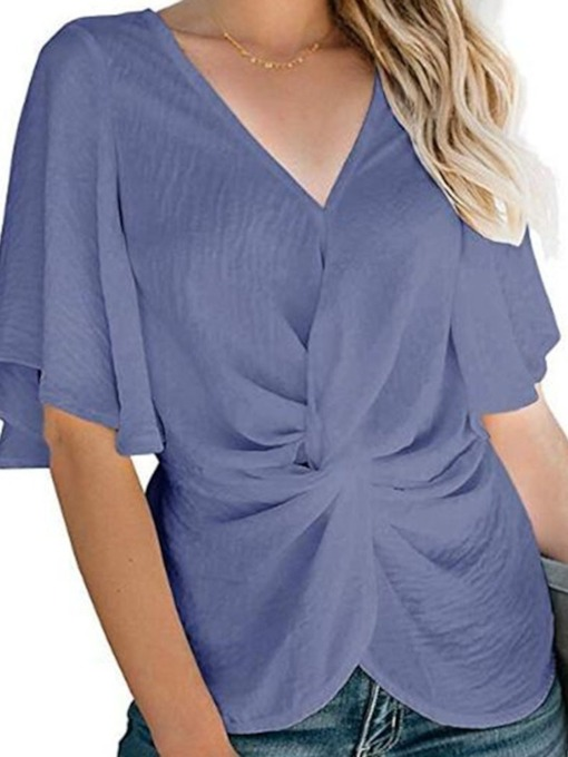 Plain Pleated V-Neck Half Sleeve Women's Blouse