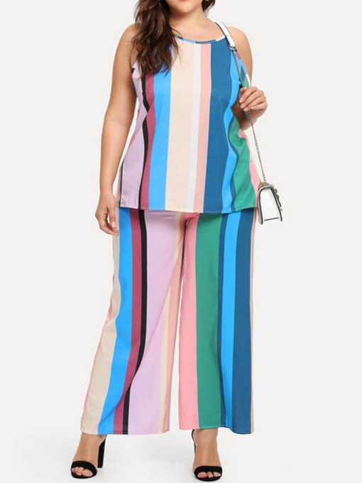 Print Color Block Vest Western Wide Legs Women's Two Piece Sets