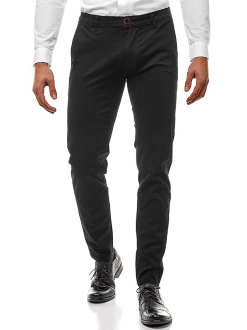 Casual Cotton Plain Zipper Pocket Button Mid Waist Business Men's Pants