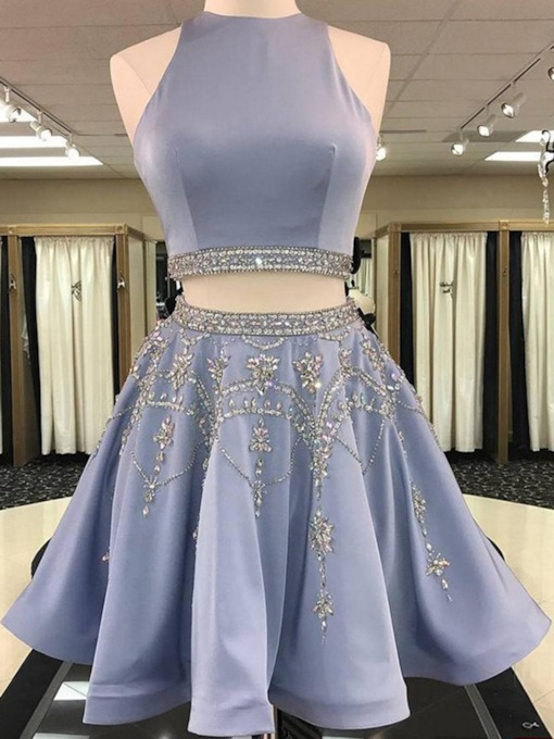 Short A-Line Sleeveless Jewel Homecoming Dress 2019