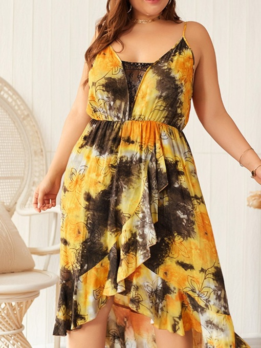 Plus Size Mid-Calf Print Sleeveless Pullover Women's Dress