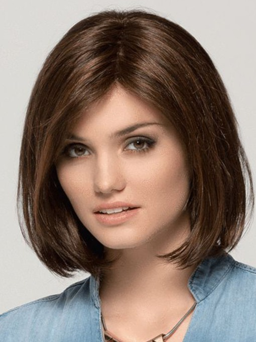 Medium Bob Hairstyles Length Women Natural Synthetic Hair Capless Wigs 14Inches