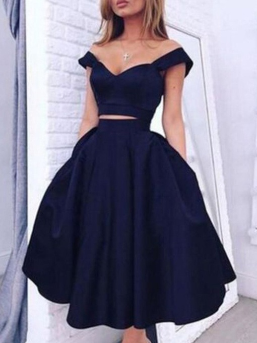 Tea-Length Sleeveless Zipper-Up Two Pieces Homecoming Dress