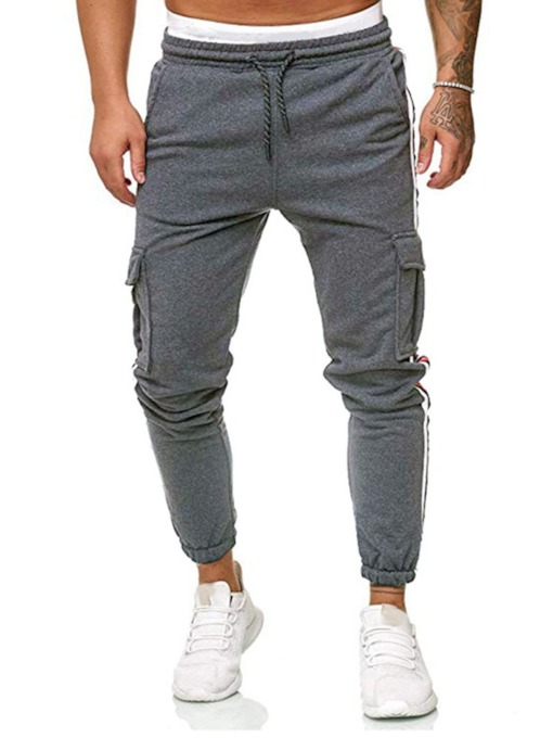 Lace-Up Harem Color Block Lace-Up Men's Casual Pants