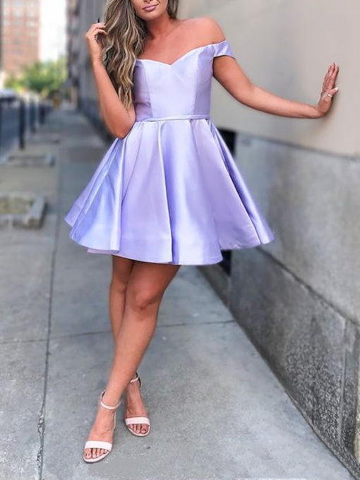Short A-Line Sleeveless Off-The-Shoulder Homecoming Dress 2019