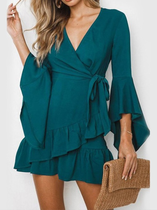 V-Neck Above Knee Lace-Up Women's Long Sleeve Dress