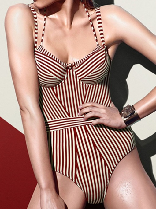 Lace-Up Sexy One Piece Color Block Women's Swimwear