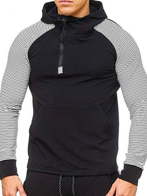 Regular Pullover Color Block Pocket Spring Men's Hoodies