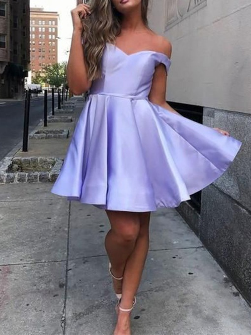 A-Line Off-The-Shoulder Lavender Homecoming Dress 2019
