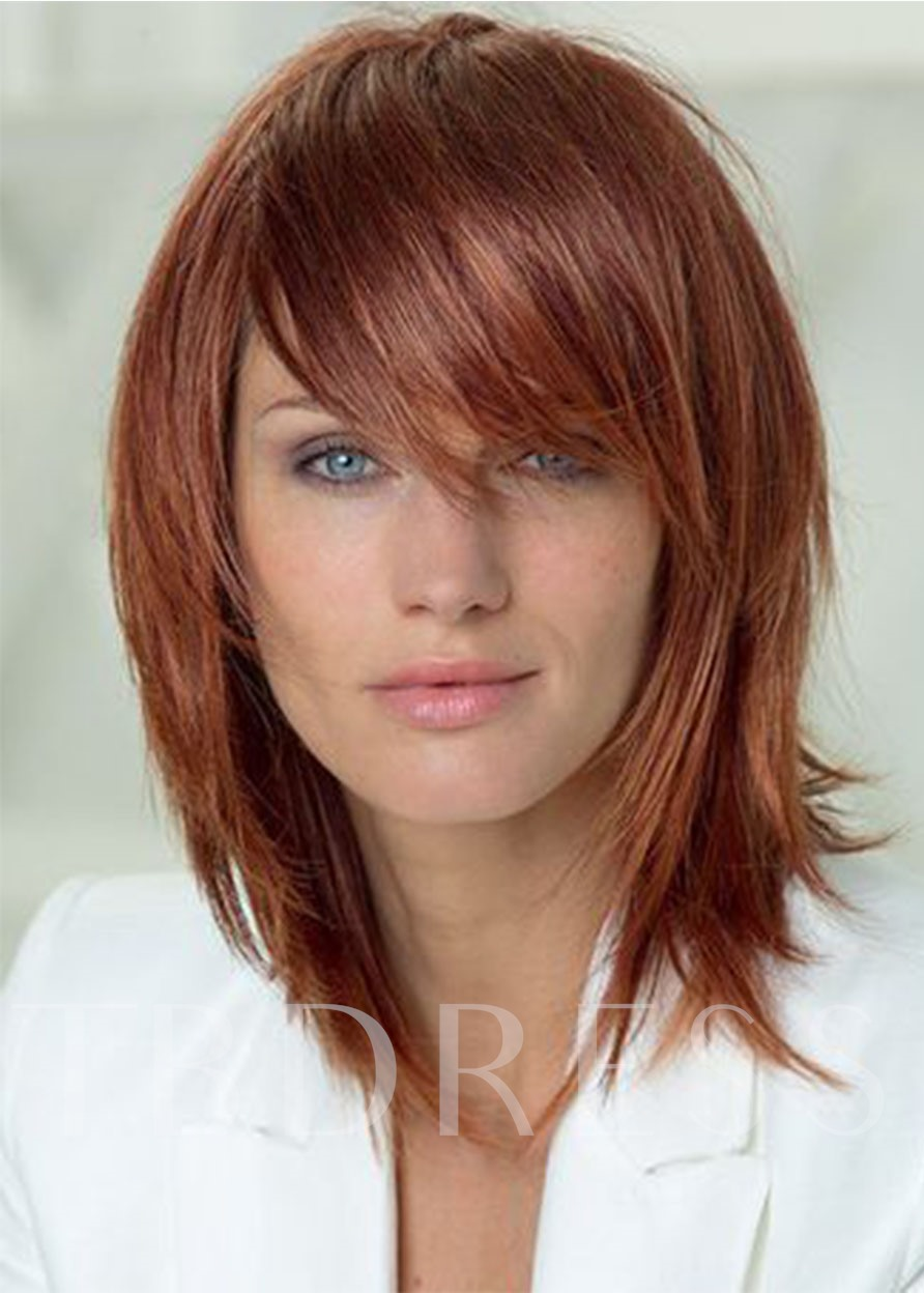 Women's Layered Hairstyle Natural Straight Medium Length Synthetic Hair Lace Front Wigs 16Inch