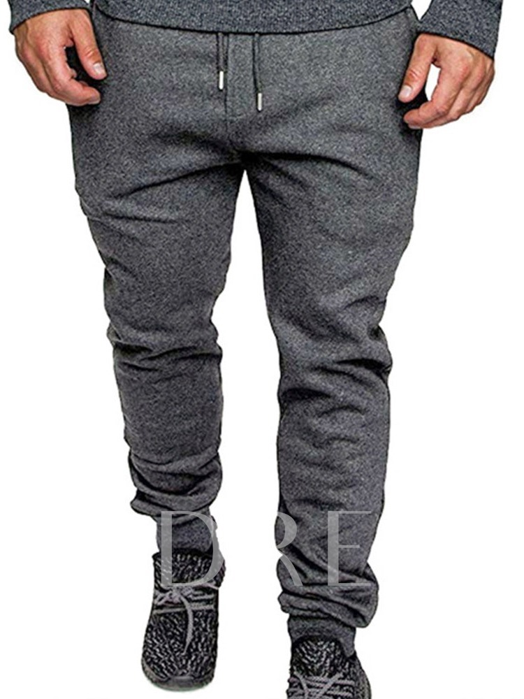 Pocket Color Block Lace-Up Men's Casual Pants