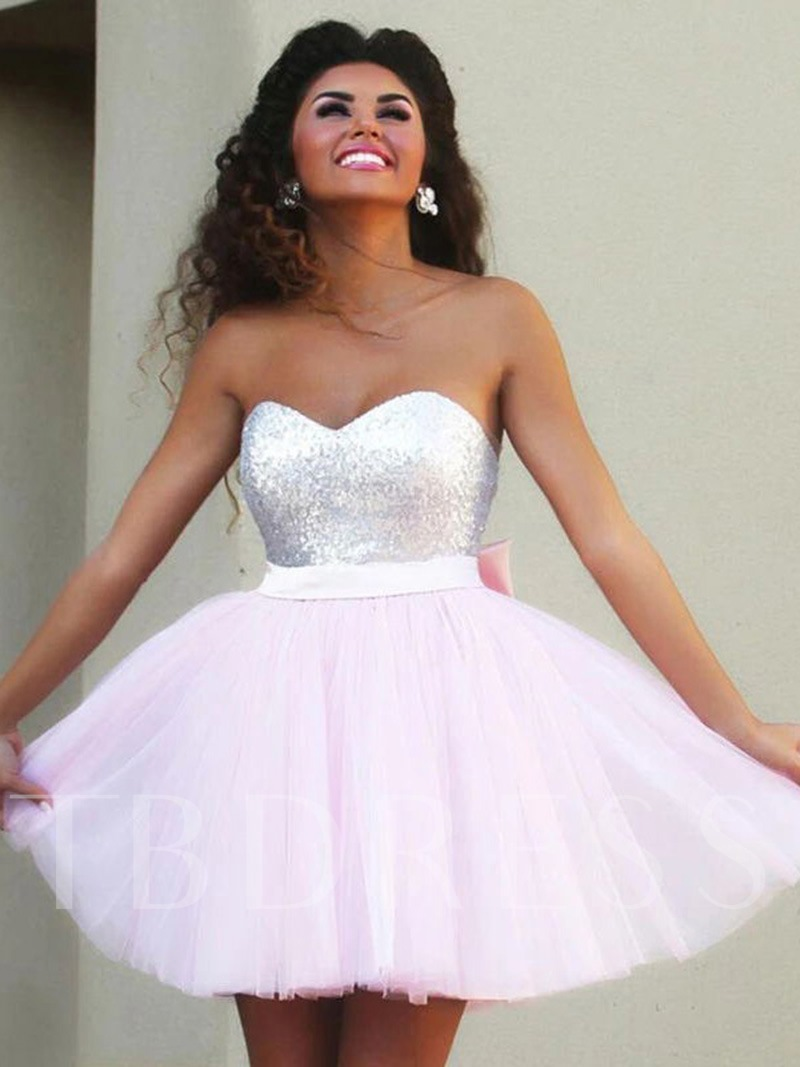 Sweetheart Sashes Sequins Homecoming Dress 2019