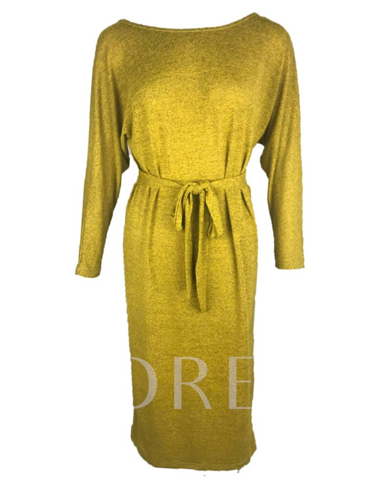 Round Neck Backless Pullover Lace-Up Women's Long Sleeve Dress