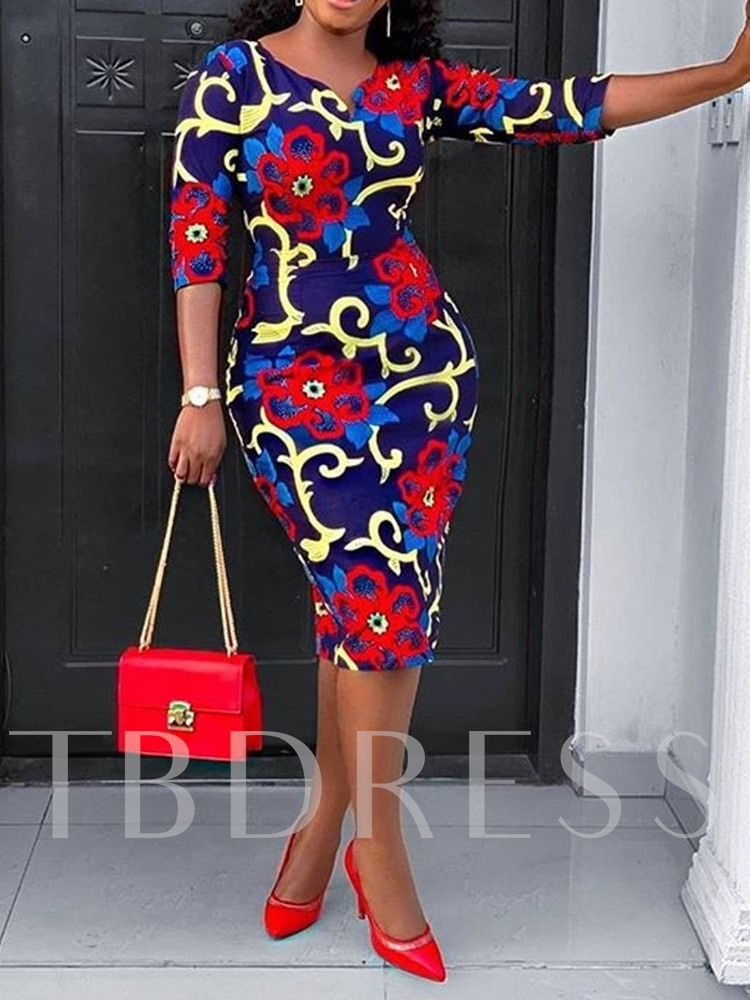 Print Three-Quarter Sleeve V-Neck Floral Women's Bodycon Dress