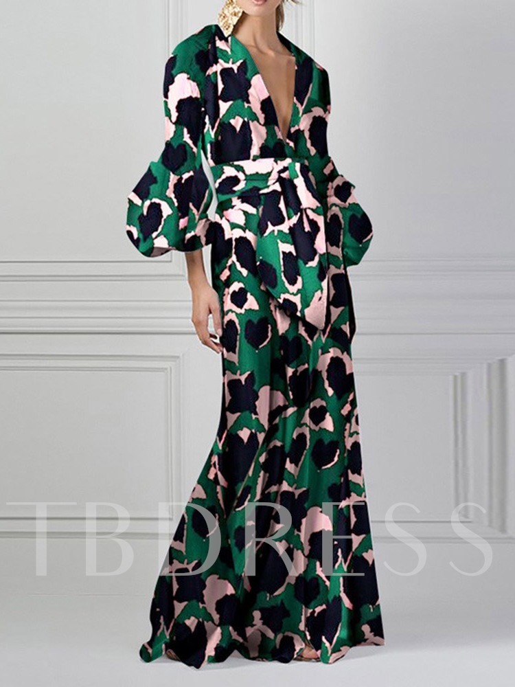 Three-Quarter Sleeve V-Neck Print Floor-Length Summer Women's Maxi Dress