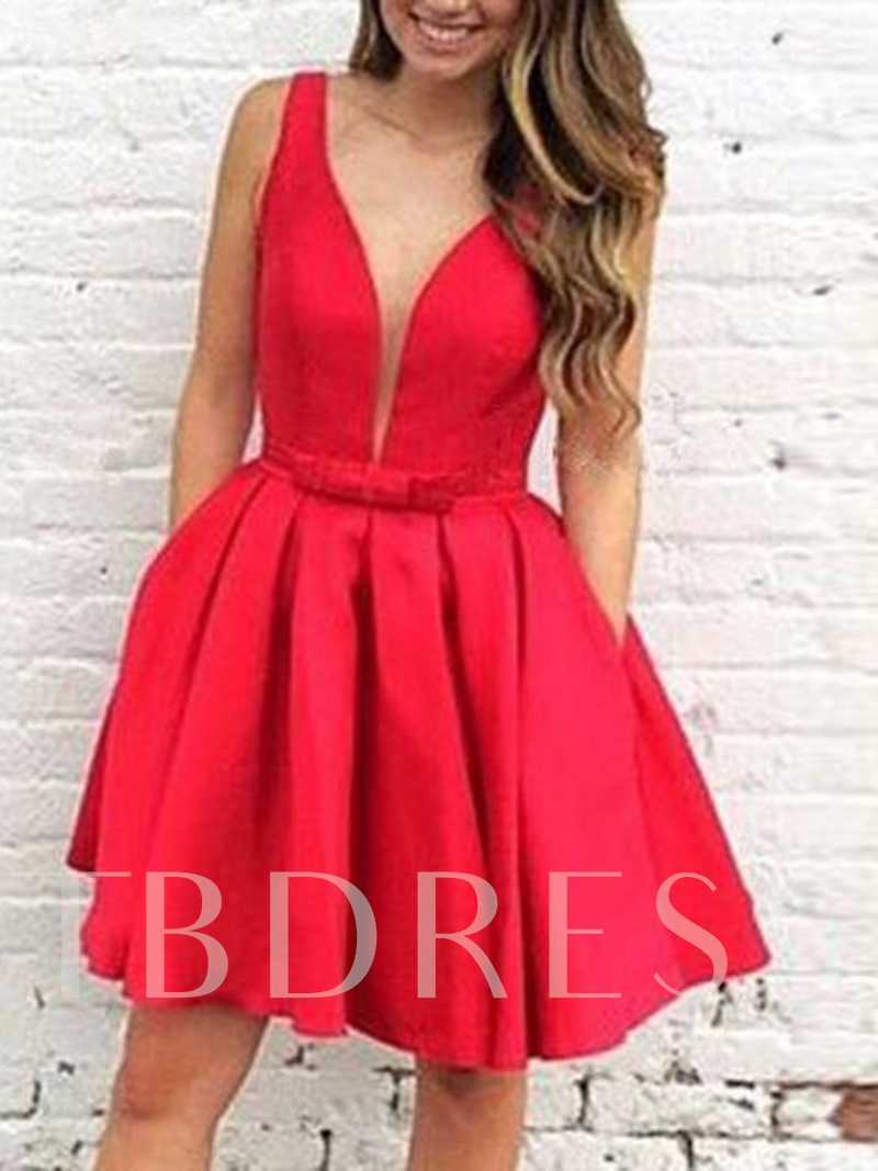 Straps Bowknot Pockets Homecoming Dress 2019