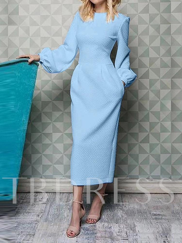 Long Sleeve Pocket Round Neck Lantern Sleeve Women's Maxi Dress