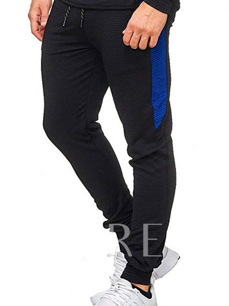 Comfortable Cotton Lace-Up Mid Waist Thin Color Block Spring Men's Casual Pants