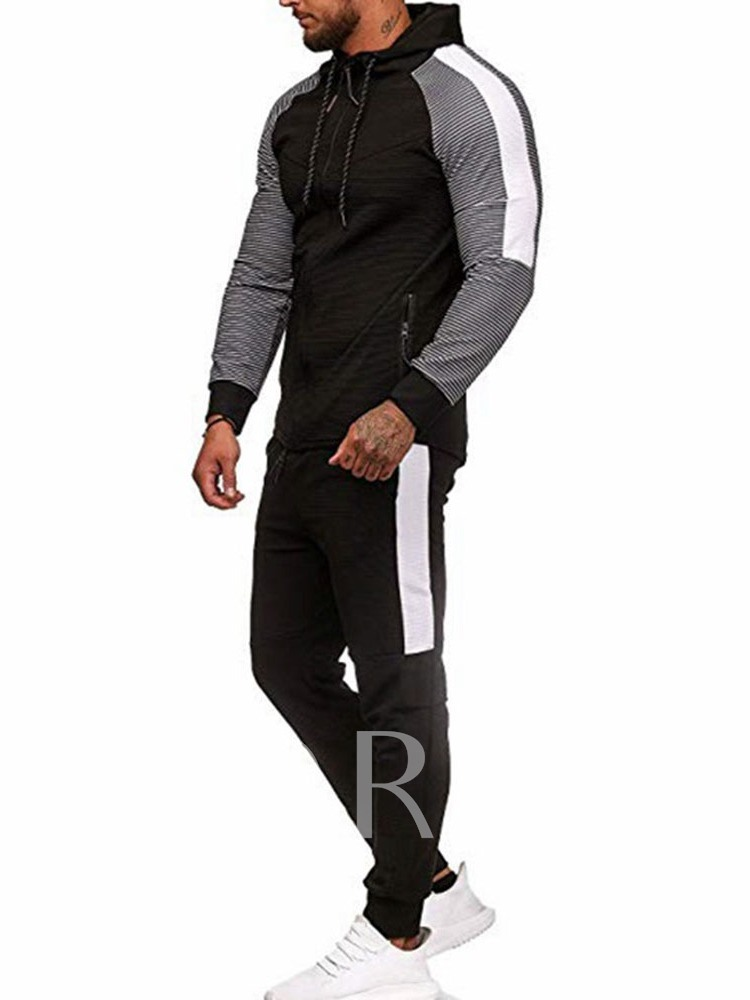 High Quality Soft Print Pants Casual Zipper Color Block Long Sleeves Polyester Men's Outfit