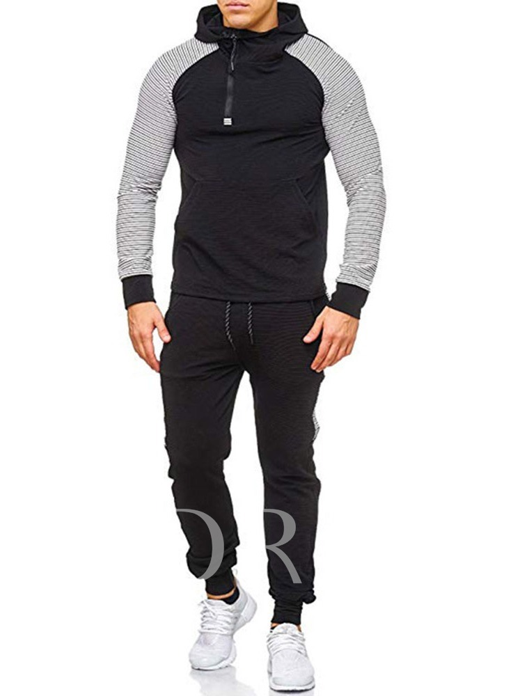 Casual Soft Cotton Hoodie Color Block Pocket Pants Long Sleeves Men's Outfit