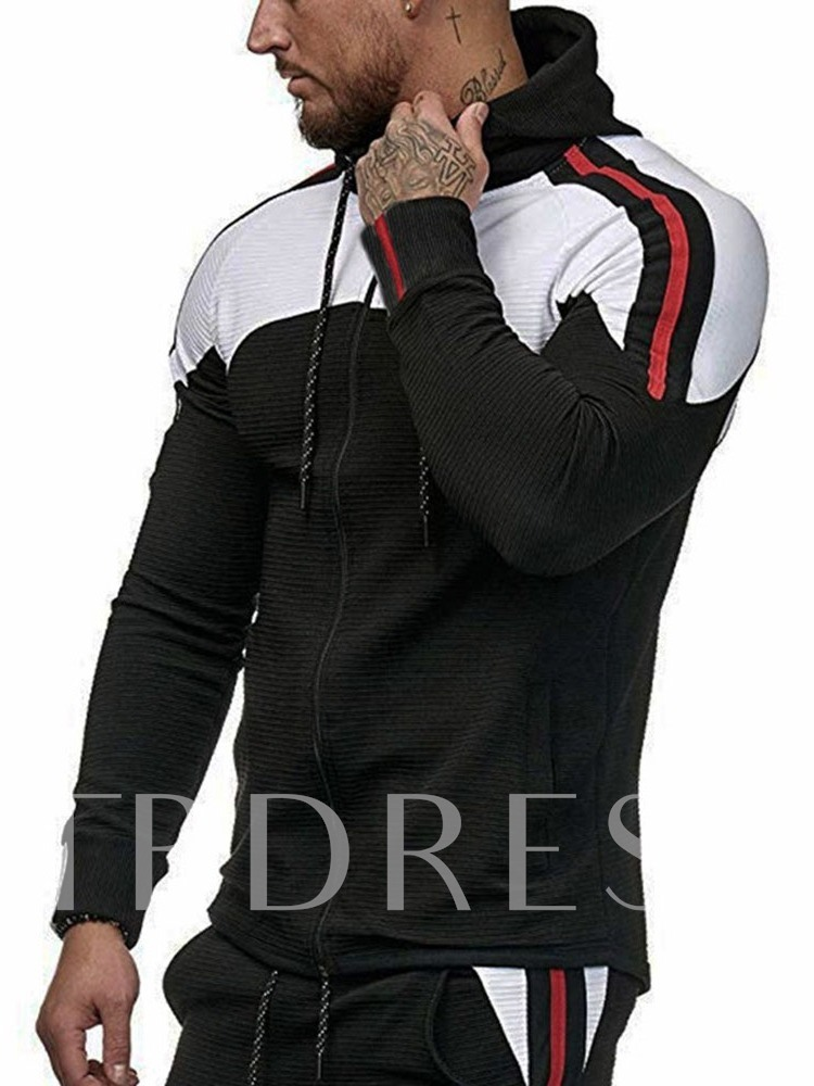 Fashion Cotton Blends Long Sleeves Stripe Cardigan Zipper Fall Men's Hoodies