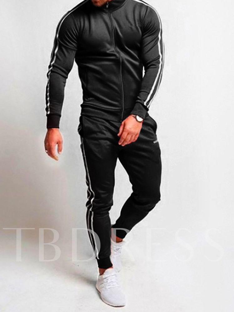 Classic Color BLock Lace-Up Jacket Casual Stripe Pants Long Sleeves Men's Outfit