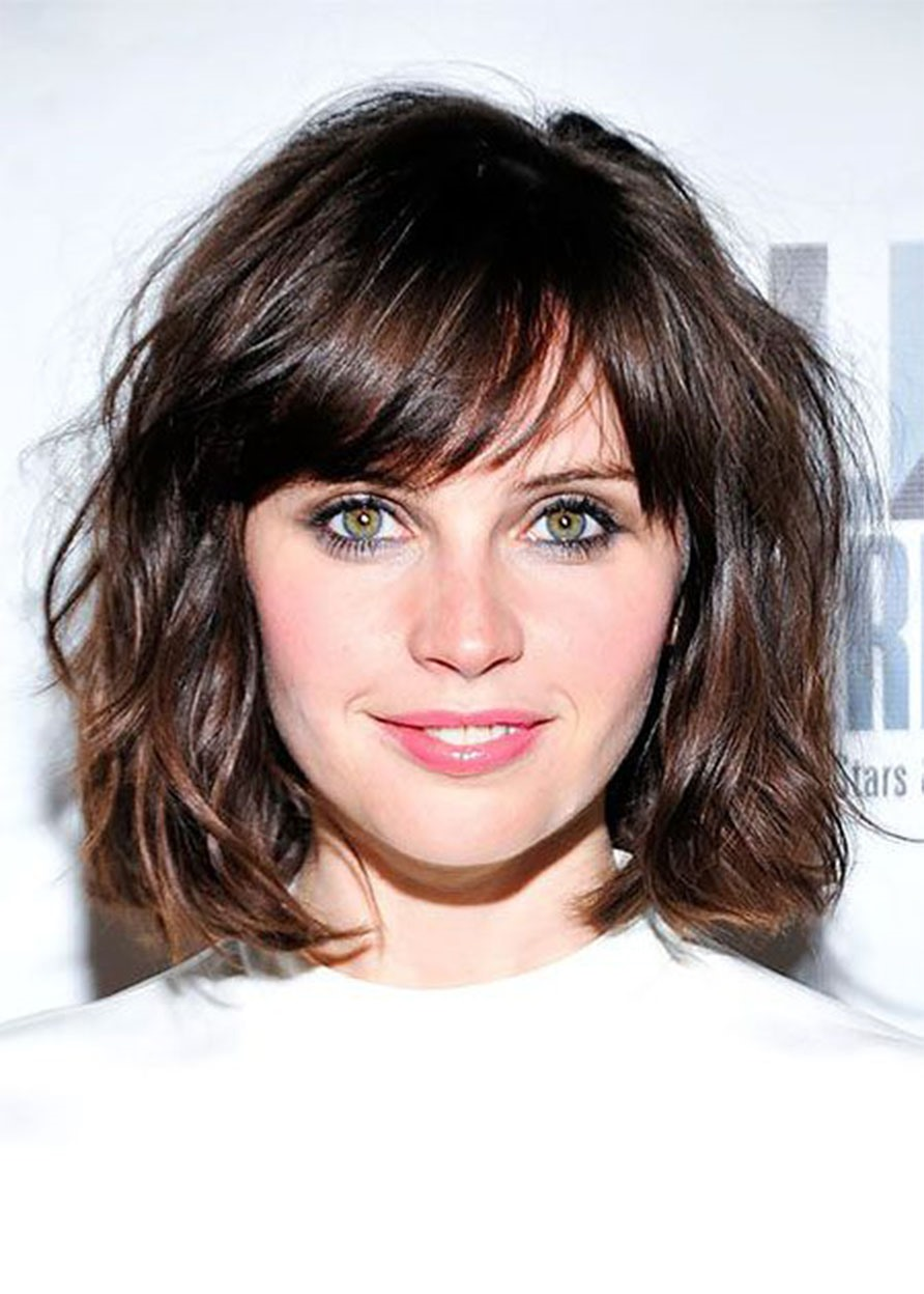 Women's Natural Straight Short Layered Hairstyle Synthetic Hair Capless Wigs 16Inches