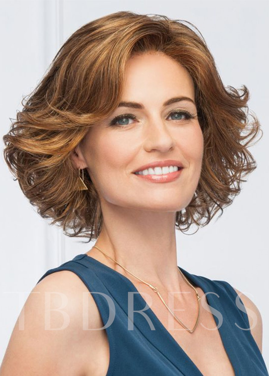 Glamour Short Hairstyle For Women In Party Natural Wavy Middle Synthetic Hair Lace Front Wigs 16Inch
