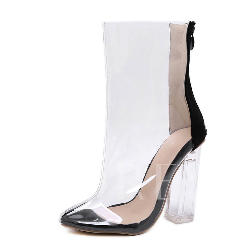 Back Zip Chunky Heel Pointed Toe SeeThrough Ankle Boots