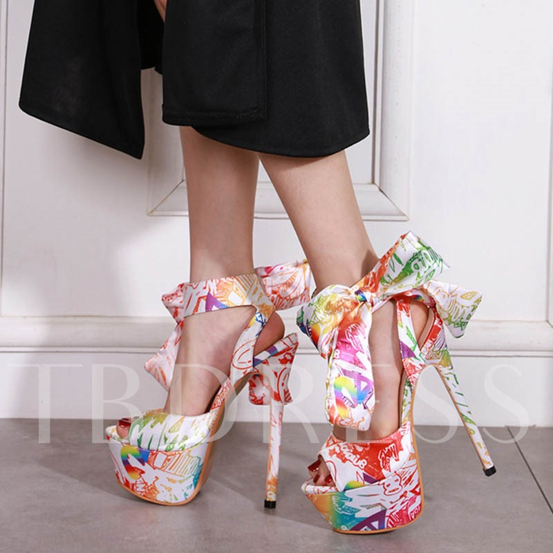 Peep Toe Ankle Strap Lace-Up Stiletto Heel Floral Sandals