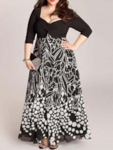 Plus Size Three-Quarter Sleeve V-Neck Print High Waist Women's Dress