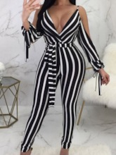 Stripe Full Length Western Print Skinny Women's Jumpsuit