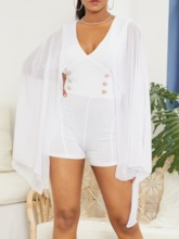 Fashion Plain Button Shorts Straight Women's Romper