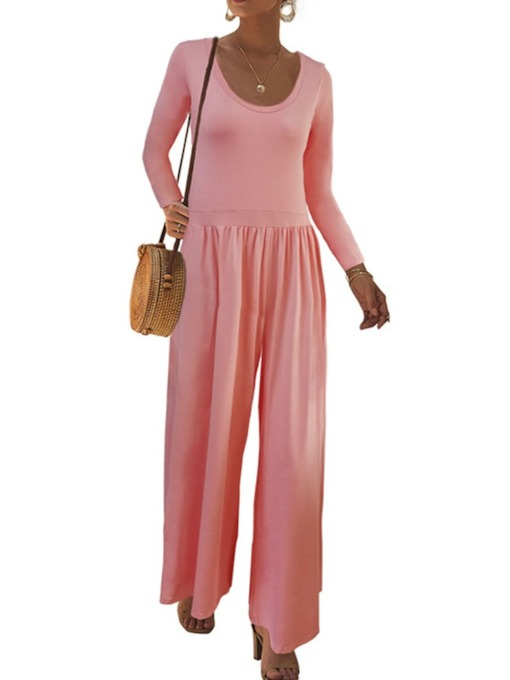 Western Plain Full Length Wide Legs Women's Jumpsuit