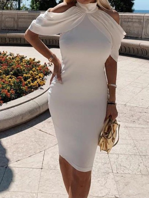 Short Sleeve Turtleneck Knee-Length Pleated Women's Sheath Dress