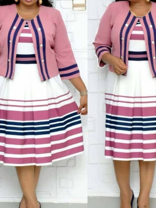 Plus Size Stripe Print Round Neck Women's Dress