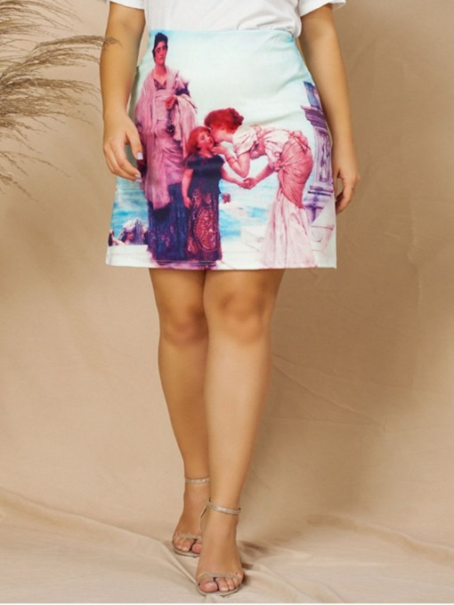 Plus Size Mini Skirt A-Line Print Plus Size Women's Skirt