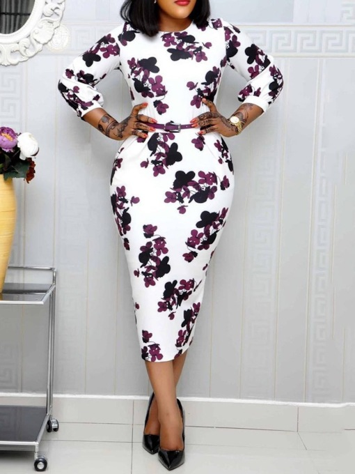 Print Round Neck Three-Quarter Sleeve Floral Women's Sheath Dress