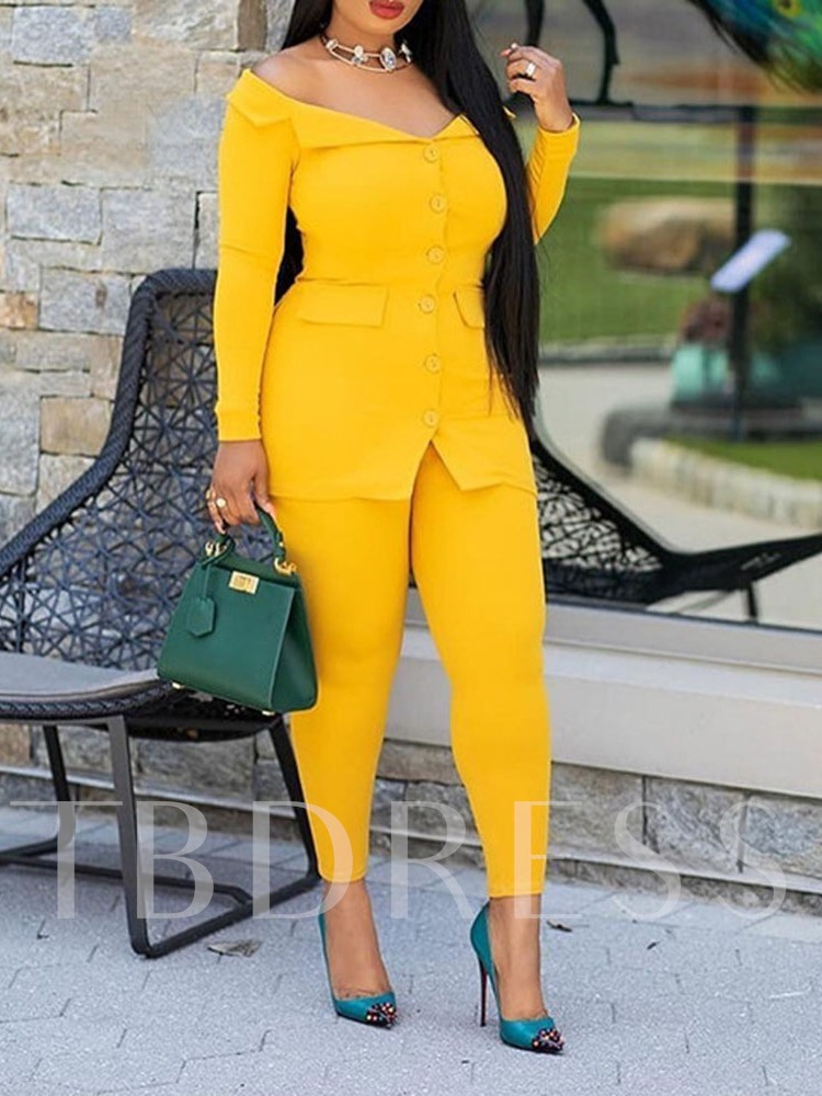 Button Western Ankle Length Pants Plain Single-Breasted Women's Two Piece Sets